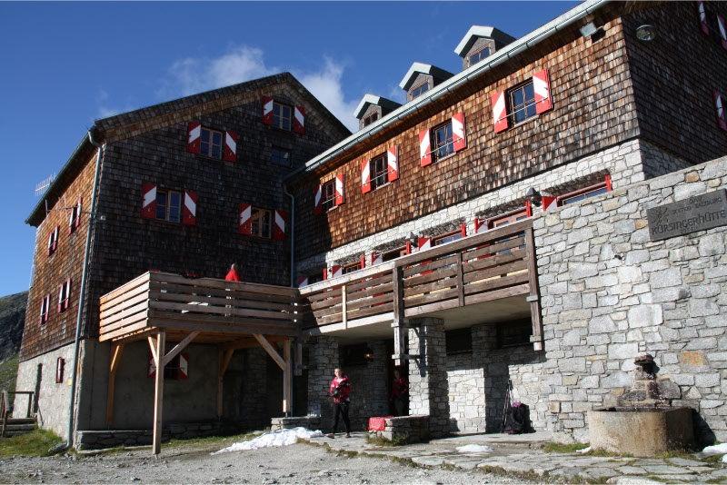 Kursingerhutte als overnachtingsadres op 2600 meter hoogte